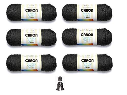 Caron Simply Soft Yarn - 6 Pack Bundle (Charcoal Heather) (Charcoal Simply Soft Yarn)