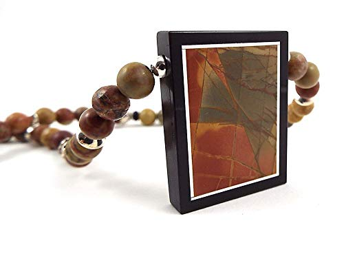 Abstract Inlaid Jasper Gemstone Pendant Beaded Necklace and Earring Set