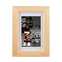 uxcell® 7 x 9 Inch Wood Color Photo Picture Frame, Made to Display Pictures 4 x 6 Inch with Mat or 5.5 x 7.7 Inch Without Mat, Wood Wide Molding