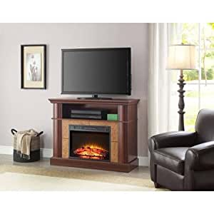 Better homes and gardens cherry media fireplace for tvs up to 54 flame with or for Better homes and gardens fireplace tv stand