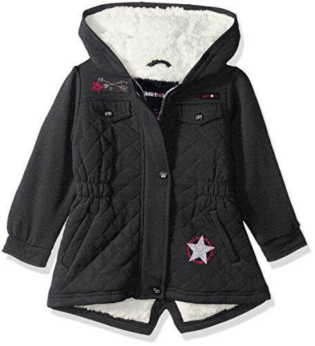 Limited Too Girls' Toddler Space Dyed Fleece Anorak W/Sherpa Lining, Charcoal Heather Quilt, 2T