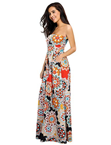 - Leadingstar Women's Summer Beach Holiday Tube Long Dress (Orange Circle, S)