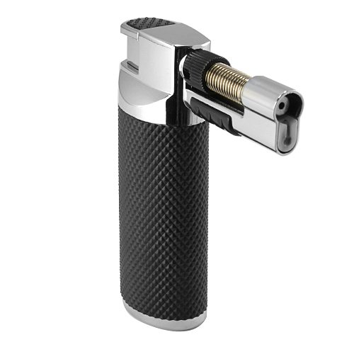 Lighter Piezo Table - Multi-Purpose Black Rubber Grip Handle Chrome Housing Lockable 2 Flame Patterns Micro Torch Jet Welding Soldering Cigar Cigarette Butane Table Lighter With Gift Box