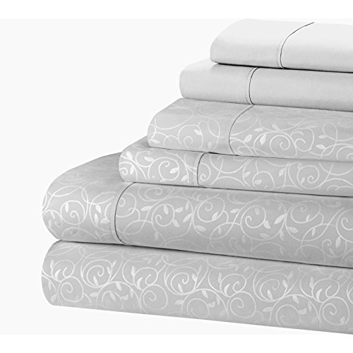 GoodGram 6 Pc. Wrinkle Free Ultra Soft Microfiber Scroll Design Sheet Set - Assorted Sizes & Colors (Full, Silver) (White And Silver Bedding Sets)