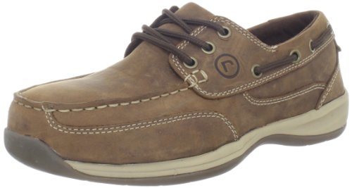 Rockport Works Men's Sailing Club 3 Eye Tie Boat Shoe-Tan-10.5 W (Shoes Deck Tie)