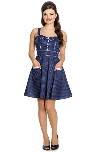 hell bunny blue polka dot dress - 1