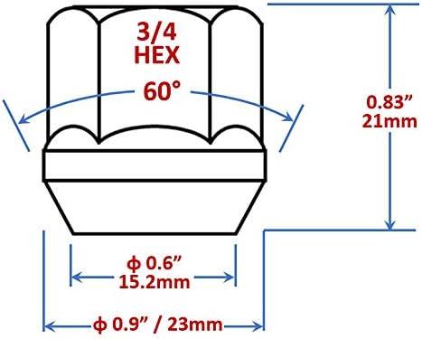 M12x1.25 Thread Pack of 20 Mastiff 11305 Open-End Bulge Acorn Lug Nut Set Triple-Chrome Finish