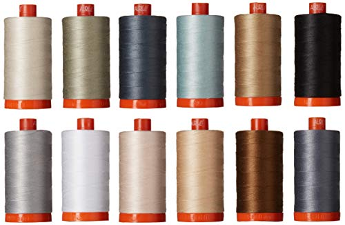 Christa Quilts Piece and Quilt Neutrals Aurifil Thread Kit 12 Large Spools 50 Weight -