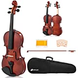 Sonart Full Size 4/4 Solid Wood Violin, Acoustic Starter Kit with Hard Case, Rosin, Bridge, Bow, Extra Strings, Violin Outfit Set for Beginners Students