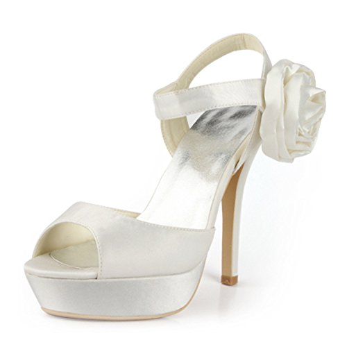 Minitoo TMZ369 Women's Platform Flower Satin Bridal Wedding Evening Formal Party Sandals Ivory-13cm Heel EDFheKqJ