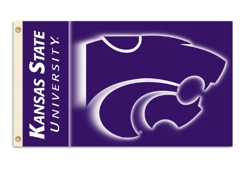 NCAA Kansas State Wildcats 2-Sided 3-by-5 Foot Flag with Gro