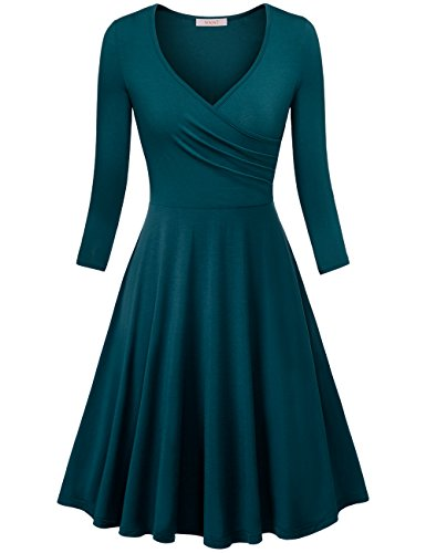 Spring Dresses Junior (WAJAT Women's V Neck A Line Half Sleeve Crossover Pleated Swing Party Dress Teal M)