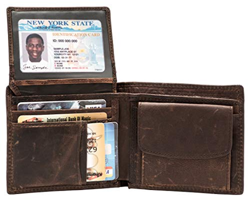 Large RFID Blocking Genuine Leather Bifold Wallet for Men with Zipper and Coin Pocket (Coffee)