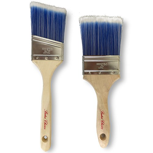 Bates Paint Brushes- 2 Pcs (3-Inch, Angle 2.5-Inch), Paint Brushes For Wall, Trim Paint Brush, Angle Sash Paint Brush, Premium Paintbrush, Professional Wall Brush Set, House Paint Brushes, Stain Brush