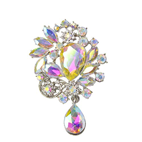 AB Acrylic Crystal Brooches for Women Water Drop Flower Brooch Pin Party Jewelry Bijoux Picture ()