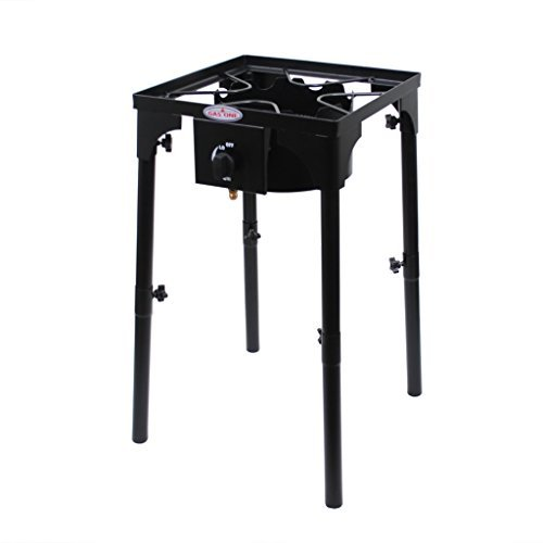 GAS ONE Portable Propane 100,000 BTU High Pressure Single Burner Outdoor Camp Stove with Adjustable Legs and CSA Listed 0 20PSI High Pressure Regulator and Hose Perfect for Brewing Maple Syrup Prep