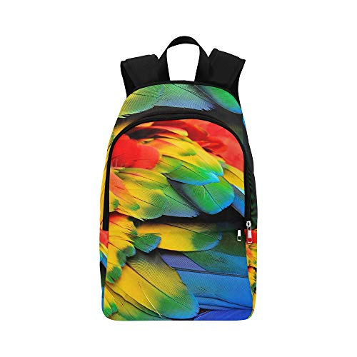 Price comparison product image Red Yellow Blue Feathers Scarlet Macaw Bird Casual Daypack Travel Bag College School Backpack Mens Women