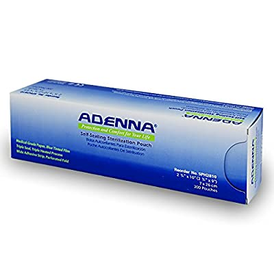 "Adenna White Paper/Blue Tinted Film 2-3/4"" X 9"" Sterilization Pouch"