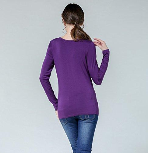 Allattamento Shirt Tops Viola Maglia Maniche Prémaman Donna NiSeng Lunghe L'Allattamento T Per Camicia OqSnpv