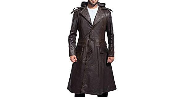 Ninja Jacob Jacket Brown Leather Trench Coat at Amazon Mens ...