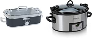 Crock-Pot 3.5 Quart Casserole Manual Slow Cooker, Charcoal & SCCPVL610-S-A 6-Quart Cook & Carry Programmable Slow Cooker with Digital Timer, Stainless Steel
