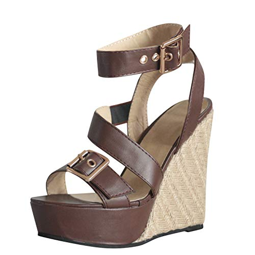 Mark Avon Dress Dresses - JUSTWIN Platform Open Peep Toe Roman Sandals Wedges Thick Bottom Buckle Straps Shoes Roman Sandals Brown