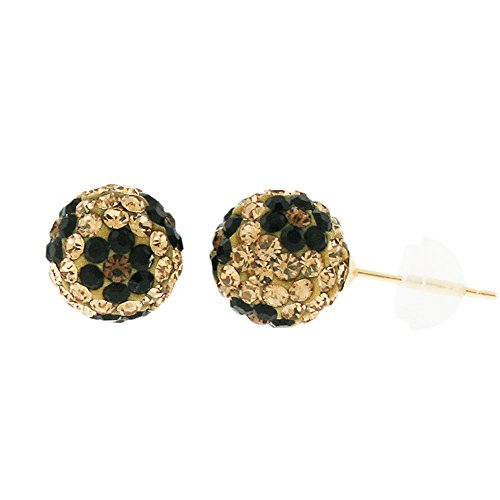 - 14k Yellow Gold Womens 8mm Austrian Crystal Ball Studs Earrings (Champagne/Black Flower)