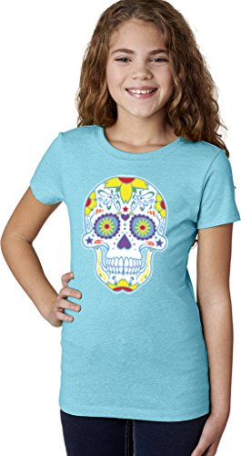 Girls Neon Sugar Skull T-Shirt, Bondi Blue, X-Small (4-5)]()