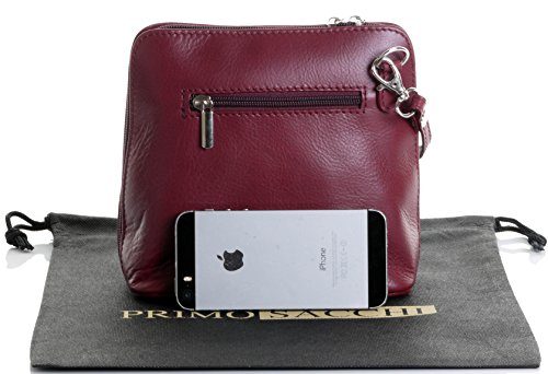 Shoulder Handbag a Hand Sacchi Bag Storage Micro Cross Made Primo Body Small Includes Dark Bag Bag Branded Red Soft Italian Protective or Leather agq7x76n4