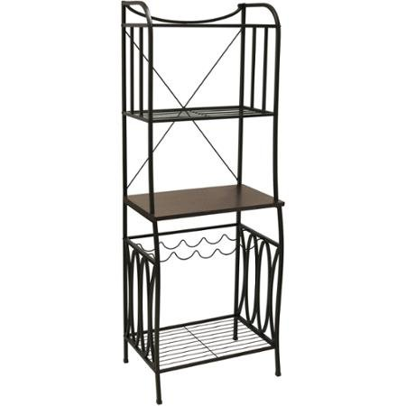 Better Homes and Gardens Mixed Material Corner Standing Baker 25'' Racks 4 Shelves with Wine Rack, Mahogany Wood Black Textured Finish by Better Homes & Gardens