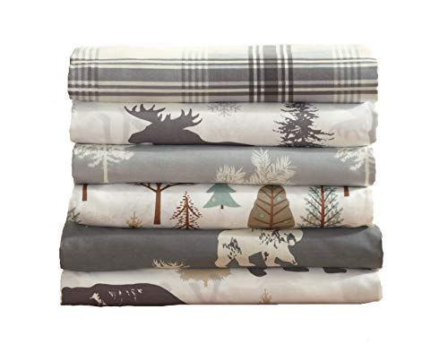Great Bay Home 4-Piece Lodge Printed Ultra-Soft Microfiber Sheet Set. Beautiful Patterns Drawn from Nature, Comfortable… - LODGE PRINTED PATTERNS: Choose from a variety of beautiful, fade-resistant patterns drawn from the life of the American forest.. Each set comes with 1 fitted sheet, 1 flat sheet and 2 pillowcases (1 for Twin size). HOTEL/SPA QUALITY: These affordable microfiber sheets feel silky smooth against your skin. They're made from 90 GSM material that keeps you cool in the summer and toasty warm in winter. This 100% polyester fabric is WARM, SOFT, FLEXIBLE, and BREATHABLE for maximum sleep comfort. PERFECT FIT EVERY TIME: These DEEP POCKET sheets fit mattresses up to 17 inches deep, with a fully elasticized fitted sheet. They're available in Twin, Full, Queen and King sizes to fit any bed. See below for exact measurements. - sheet-sets, bedroom-sheets-comforters, bedroom - 41qvg145SlL -