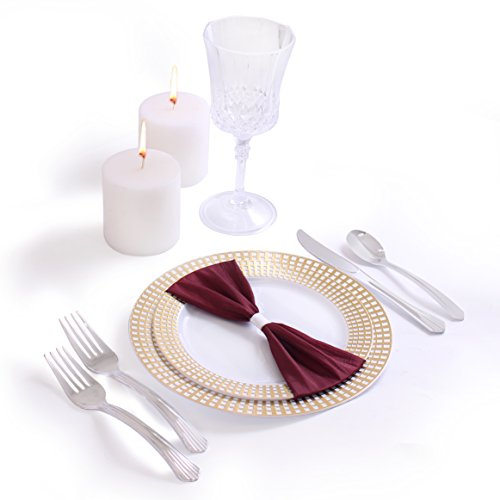 Signature Collection Premium China Like White/Gold 40 Pieces Plastic Plates Package, Wedding and Party Dinnerware (Includes 20 7.5 Inch Plates, 20 10.25 Inch Plates) (Collection 40 Piece Dinnerware)