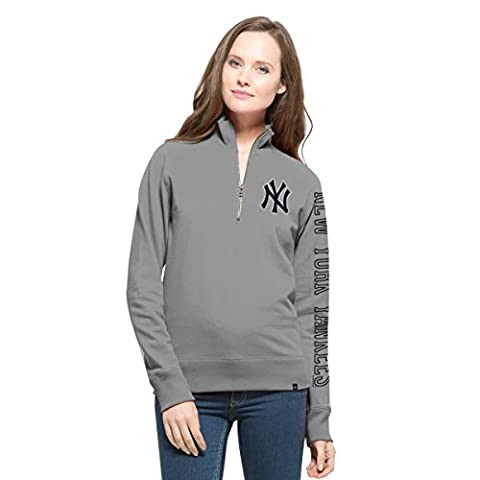 MLB New York Yankees Women's '47 Shimmer Cross-Check 1/4-Zip Pullover Jacket, Large, Wolf Grey - Womens Shimmer