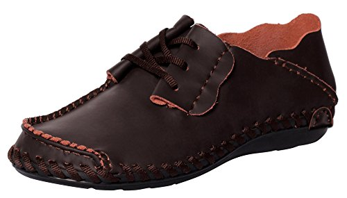CAIHEE Men' s Casual Soft Handmade Suture Leather Lace Up Outdoor Loafer Shoes (11 D(M) US, DarkBrown)