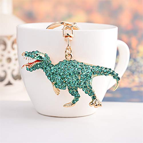 Kawaii Cute Rhinestone Dinosaur Shape As Charms Car Key Chains Key Ring Tassels Keyring Keychains linnor Women Bag Charms DIY (Green)