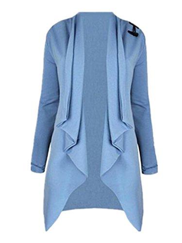 Cardigan Azul Color Elegantes Outwear Irregular Larga Abrigos Con Coat Abrigos Sencillos Largo Manga Tops Tayaho Botones SÓLido Mujer 8AnqZC