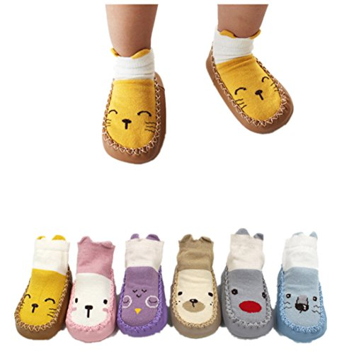 Gallity 6 Pairs Baby Toddler Anti Slip Skid Socks for 0-24 Months Cute Animal Stripes Socks Booties Baby Socks Footsocks sneakers (A, 18-24M) ()