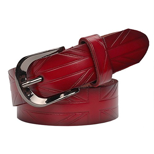 YUI The Union Jack Embossed Leather Belt For Women (One size, Red)