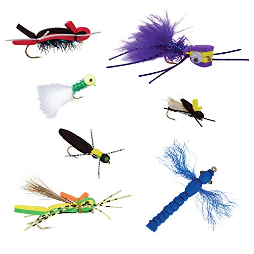 Thor Outdoor Topwater Fly Fishing Kit for Bass and Panfish - 7 Pc Assortment - Hook Size 10-12 - Includes Foam Poppers, Hoppers, Dry Flies and Attractors