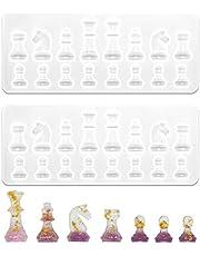 IHUIXINHE 2-Delige Internationale Schaakvorm Harsmallen, Epoxy Siliconen Gietmallen Met Verschillende Vormen, Voor Het Maken Van Sieraden, Doe-Het-Zelf-Handwerk, Kunstnijverheid, Huisdecoratie, Leuk Cadeau Voor Vrienden