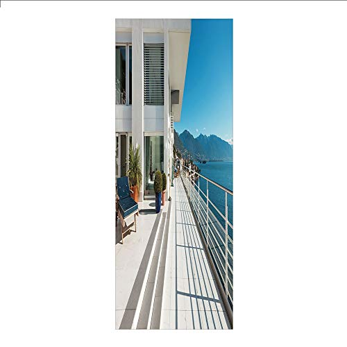 (3D Decorative Film Privacy Window Film No Glue,White Decor,Penthouse Summer Home with Wide Patio Balcony Veranda with Sea Scenery,White and Sky Blue,for Home&Office)