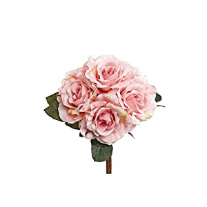 "Larksilk Bouquet of 6 Artificial Pink Roses, 14"" 10"