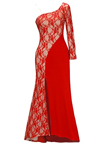 [Women Sheer Lace One Shoulder Long Sleeve Homecoming Prom Party Dress Red L] (Masquerade Dress)