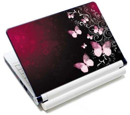 MySleeveDesign Notebook Skin Aufkleber Folie Sticker für Geräte der Größe 10,2 Zoll / 11,6 - 12,1 Zoll / 13,3 Zoll / 14 Zoll / 15,4 - 15,6 Zoll mit VERSCH. DESIGNS - Butterfly Pink