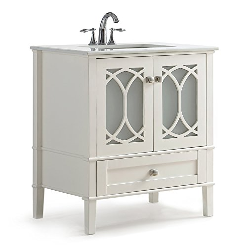 Simpli Home AXCVPAW-36 Paige 36 inch Contemporary Bath Vanity in Soft White with White Engineered Quartz Marble Top