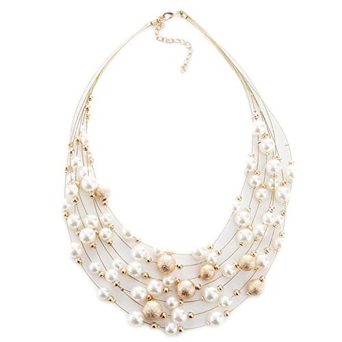 ihuoshang Jewelry Gold Color Multi Layer Chains Imitation Pearl Necklaces for Women Party Wedding Bride Necklace,Gold