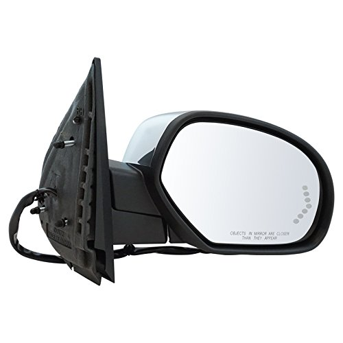 (Mirror Power Folding Heated Memory Puddle Signal Chrome Right for GM Pickup SUV)
