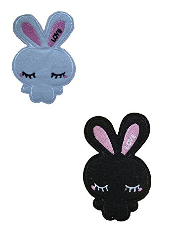 2 pieces Kawaii Bunny Iron On Patch Applique Motif Fabric Rabbit Children Decal 4.x 3 inches (10 x 7.5 cm)