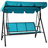 Kozyard Belle 3 Person Outdoor Patio Swing with Strong Weather Resistant Powder Coated Steel Frame and Textilence Seats (Aqua)