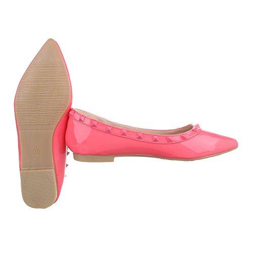 Ital-Design - Bailarinas de Material Sintético para mujer Pink Rosa XY02